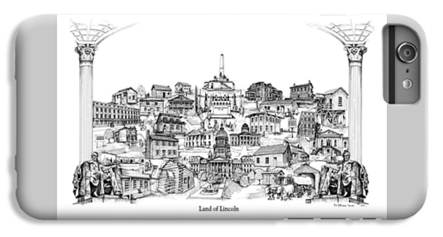 City Drawing IPhone 6 Plus Case featuring the drawing Land Of Lincoln by Dennis Bivens