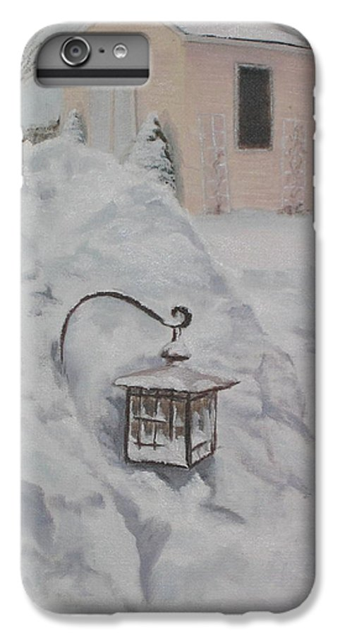 Snow IPhone 6 Plus Case featuring the painting Lantern In The Snow by Lea Novak