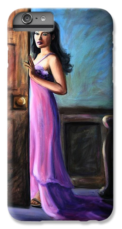 Woman IPhone 6 Plus Case featuring the painting Last Glance by Maryn Crawford