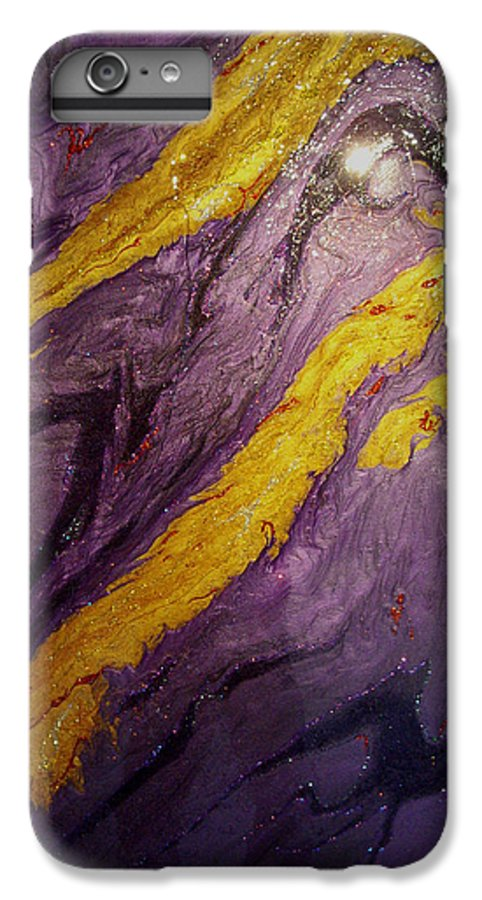 Abstract IPhone 6 Plus Case featuring the painting Lava At Night by Patrick Mock