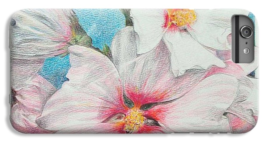 Flower IPhone 6 Plus Case featuring the painting Lavater by Muriel Dolemieux