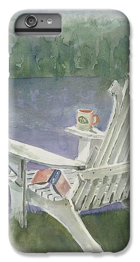 Chair IPhone 6 Plus Case featuring the painting Lawn Chair By The Lake by Arline Wagner