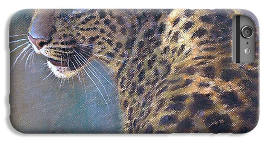Cats IPhone 6 Plus Case featuring the painting Leopard by Iliyan Bozhanov