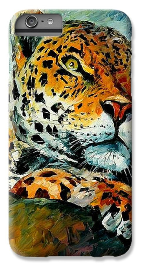 Animals IPhone 6 Plus Case featuring the painting Leopard by Leonid Afremov