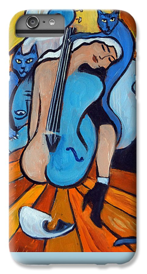 Cubic Abstract IPhone 6 Plus Case featuring the painting Les Chats Bleus by Valerie Vescovi