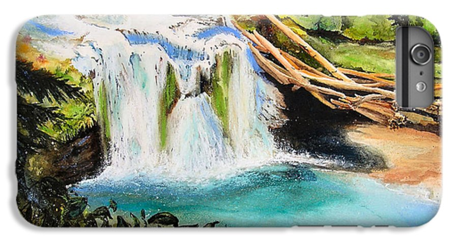Water IPhone 6 Plus Case featuring the painting Lewis River Falls by Karen Stark