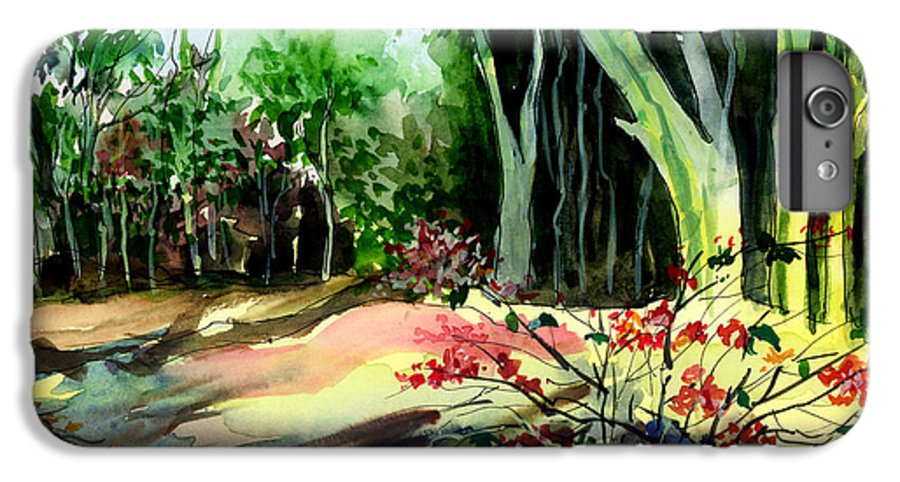 Watercolor IPhone 6 Plus Case featuring the painting Light In The Woods by Anil Nene