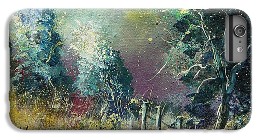 Landscape IPhone 6 Plus Case featuring the painting Light On Trees by Pol Ledent