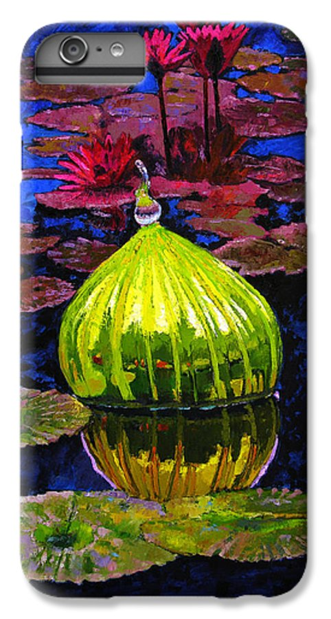 Blown Glass IPhone 6 Plus Case featuring the painting Lilies And Glass Reflections by John Lautermilch