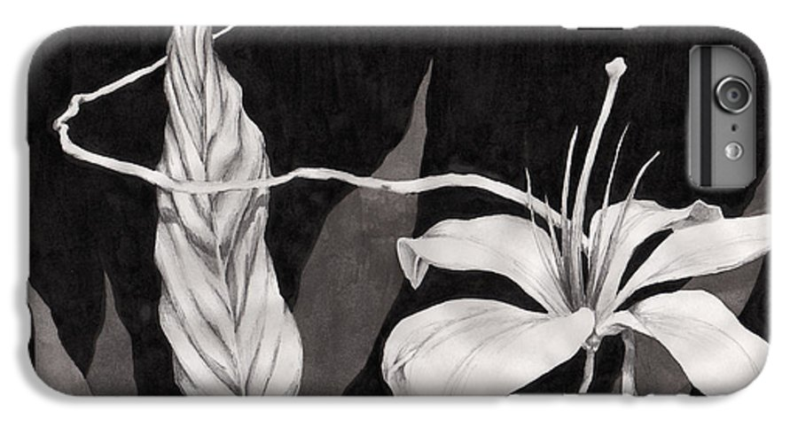 Ink Painting IPhone 6 Plus Case featuring the drawing Lily In The Night by Jennifer McDuffie