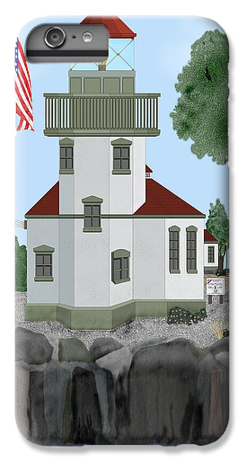 Lighthouses IPhone 6 Plus Case featuring the painting Lime Kiln Light On San Juan Island by Anne Norskog