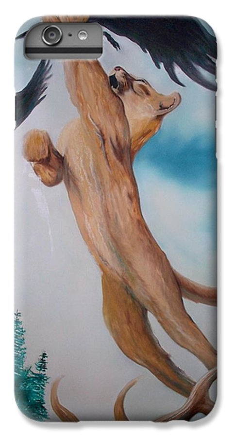 Lion IPhone 6 Plus Case featuring the painting Lion King by Patrick Trotter