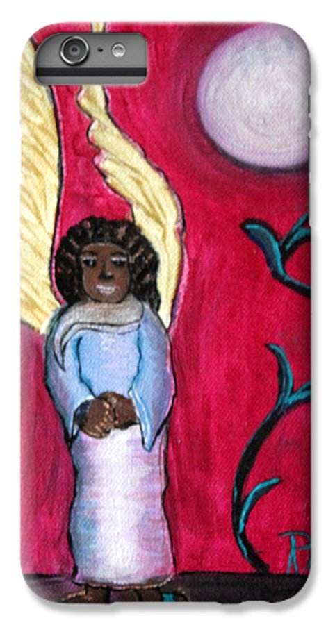 Beautiful Black Angel With Long Gold Wings IPhone 6 Plus Case featuring the painting Little Angel by Pilar Martinez-Byrne
