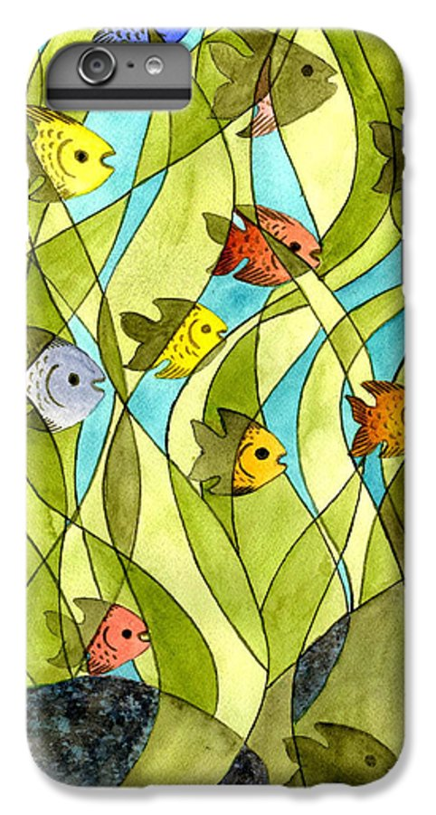 Fish IPhone 6 Plus Case featuring the painting Little Fish Big Pond by Catherine G McElroy