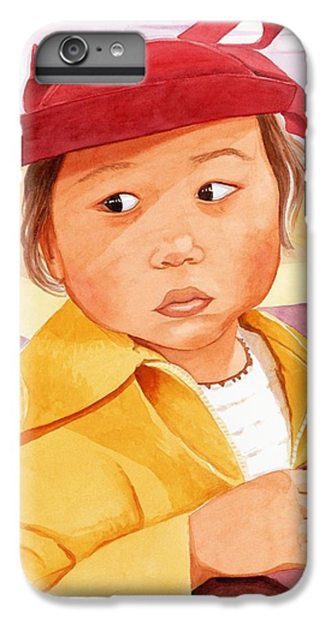 Little Japanese Girl In Red Hat IPhone 6 Plus Case featuring the painting Little Girl In Red Hat by Judy Swerlick
