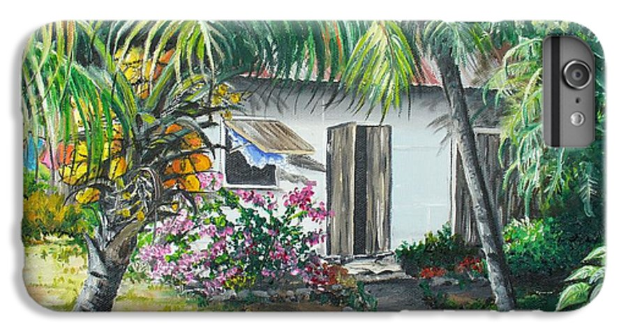 Caribbean Painting Typical Country House In Trinidad And The Islands With Coconut Tree Tropical Painting IPhone 6 Plus Case featuring the painting Little West Indian House 2...sold by Karin Dawn Kelshall- Best