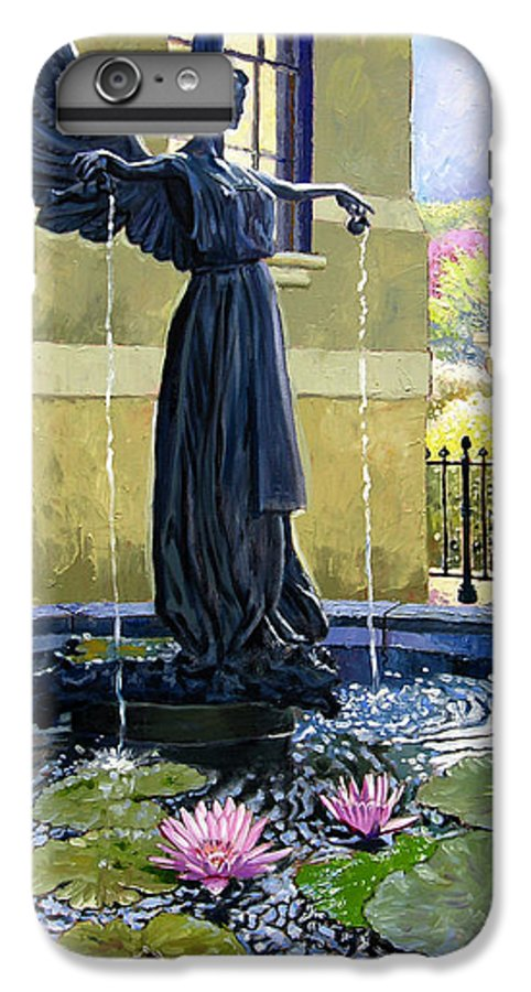 Garden Fountain IPhone 6 Plus Case featuring the painting Living Waters by John Lautermilch
