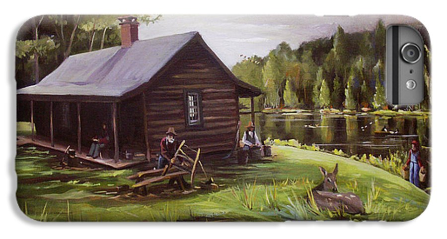 Log Cabin By The Lake IPhone 6 Plus Case featuring the painting Log Cabin By The Lake by Nancy Griswold
