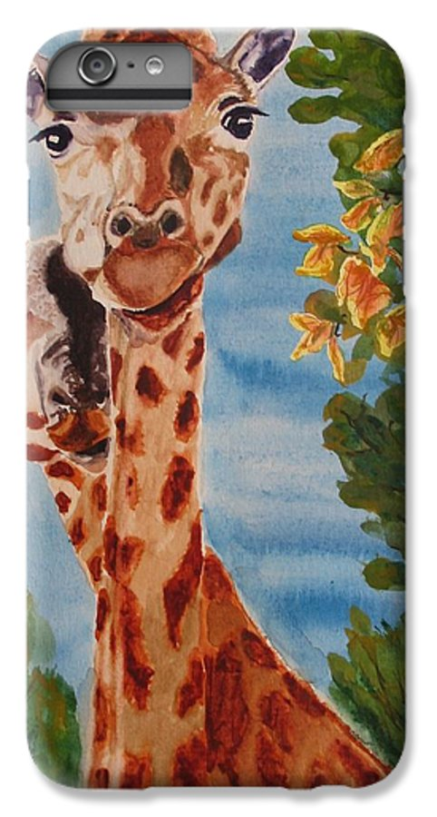 Giraffes IPhone 6 Plus Case featuring the painting Lookin Back by Karen Ilari