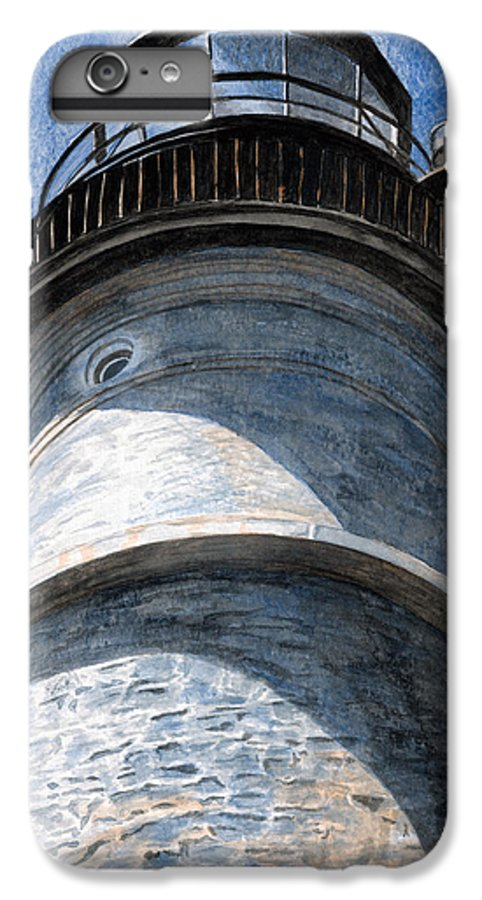 Lighthouse IPhone 6 Plus Case featuring the painting Looking Up Portland Head Light by Dominic White