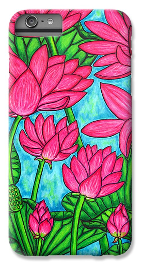 IPhone 6 Plus Case featuring the painting Lotus Bliss by Lisa Lorenz
