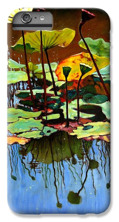 Lotus Flower IPhone 6 Plus Case featuring the painting Lotus In July by John Lautermilch