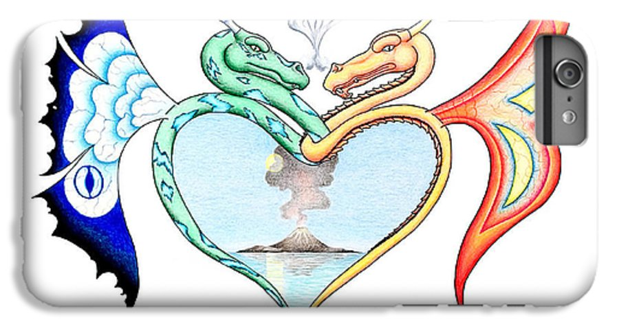 Fantasy IPhone 6 Plus Case featuring the drawing Love Dragons by Robert Ball