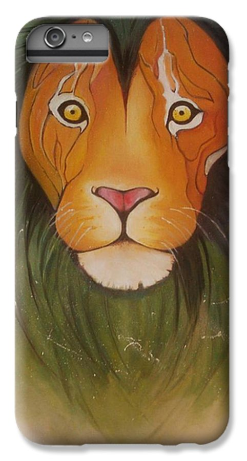#lion #oilpainting #animal #colorful IPhone 6 Plus Case featuring the painting Lovelylion by Anne Sue