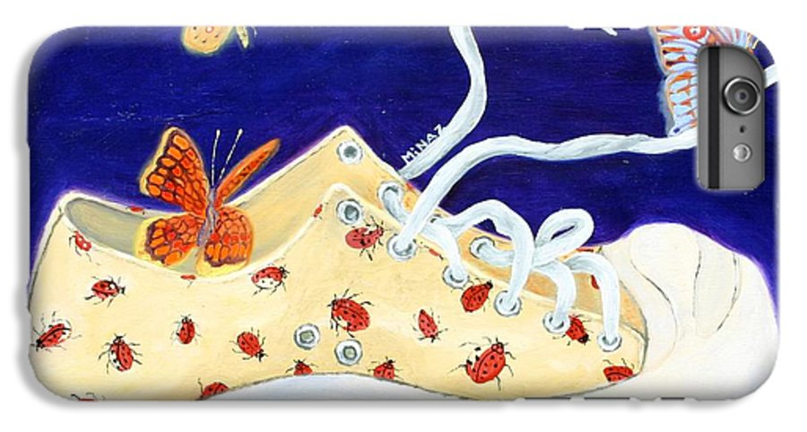 Running Shoes IPhone 6 Plus Case featuring the painting Lucky Lady Bug Shoe by Minaz Jantz