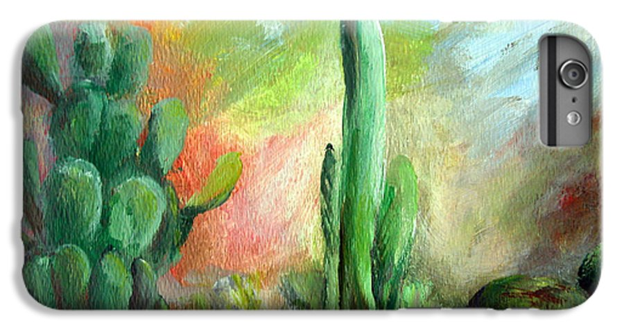 Floral Painting IPhone 6 Plus Case featuring the painting Lumiere De Desert by Muriel Dolemieux