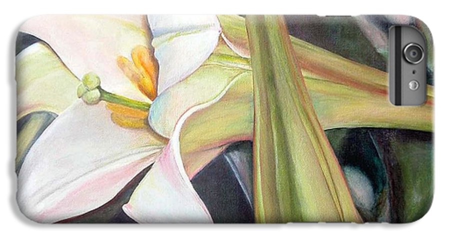 Floral Painting IPhone 6 Plus Case featuring the painting Lys by Muriel Dolemieux