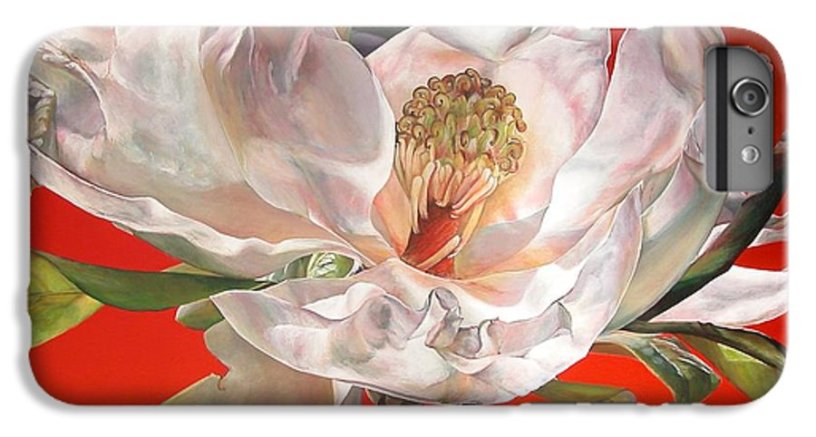 Floral Painting IPhone 6 Plus Case featuring the painting Magnolia by Muriel Dolemieux