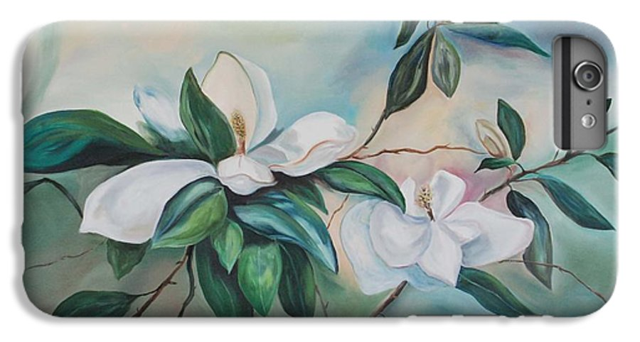 Flowers IPhone 6 Plus Case featuring the painting Magnolia Summer by Margaret Fortunato
