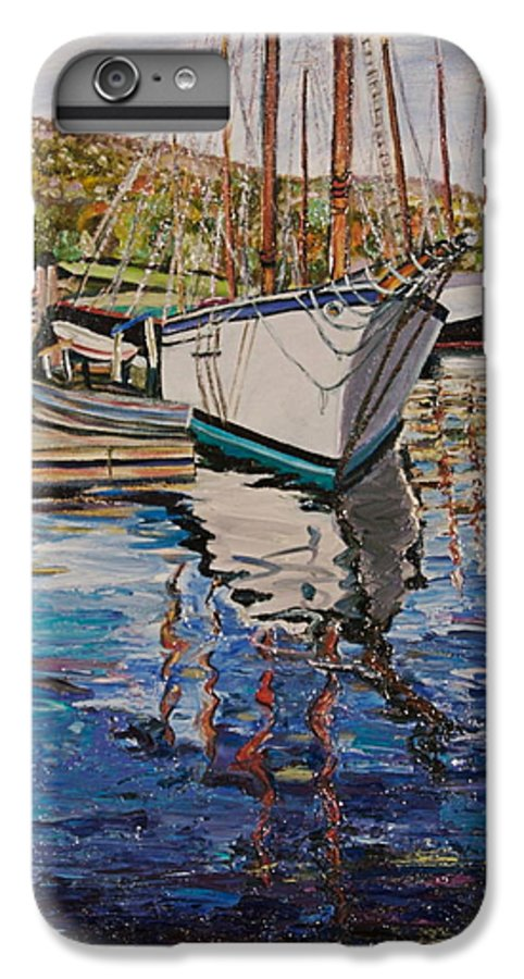 Maine IPhone 6 Plus Case featuring the painting Maine Coast Boat Reflections by Richard Nowak