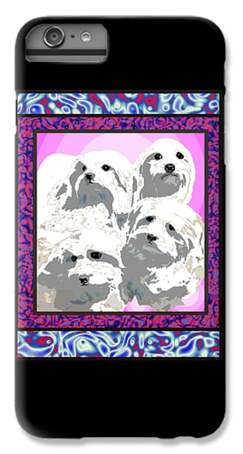 Maltese Group IPhone 6 Plus Case featuring the digital art Maltese Group by Kathleen Sepulveda