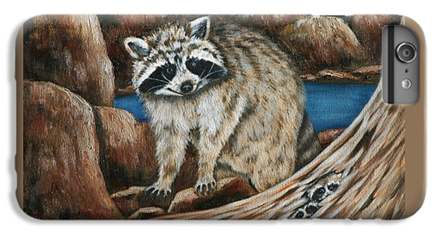Racoon IPhone 6 Plus Case featuring the painting Mama Racoon by Ruth Bares