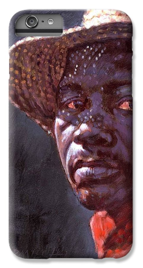 Black Man IPhone 6 Plus Case featuring the painting Man In Straw Hat by John Lautermilch