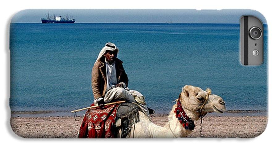 Dromedary IPhone 6 Plus Case featuring the photograph Man With Camel At Red Sea by Carl Purcell