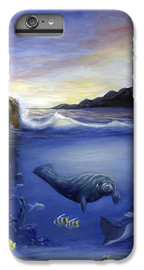 Seaworld IPhone 6 Plus Case featuring the painting Manatee by Anne Kushnick