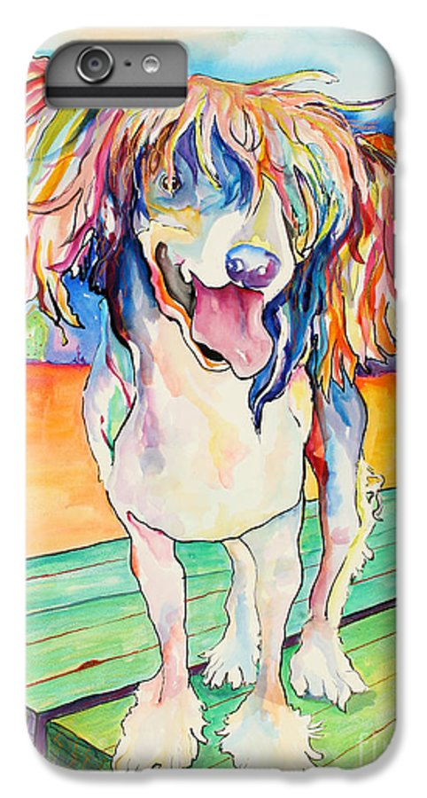 Chinese Crested IPhone 6 Plus Case featuring the painting Mango Salsa by Pat Saunders-White