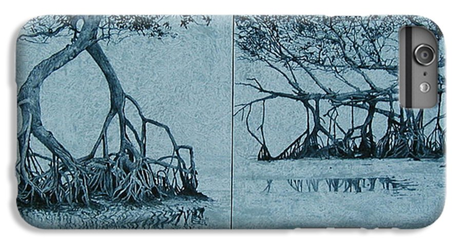 Blue IPhone 6 Plus Case featuring the painting Mangroves by Leah Tomaino