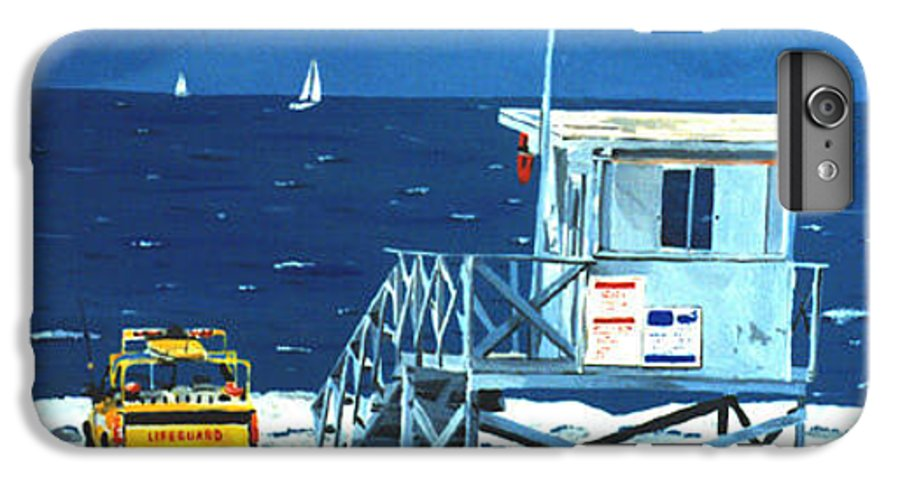 Modern IPhone 6 Plus Case featuring the painting Manhattan Beach Lifeguard Station by Lance Headlee