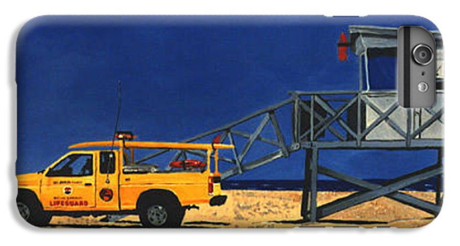 Modern IPhone 6 Plus Case featuring the painting Manhattan Beach Lifeguard Station Side by Lance Headlee