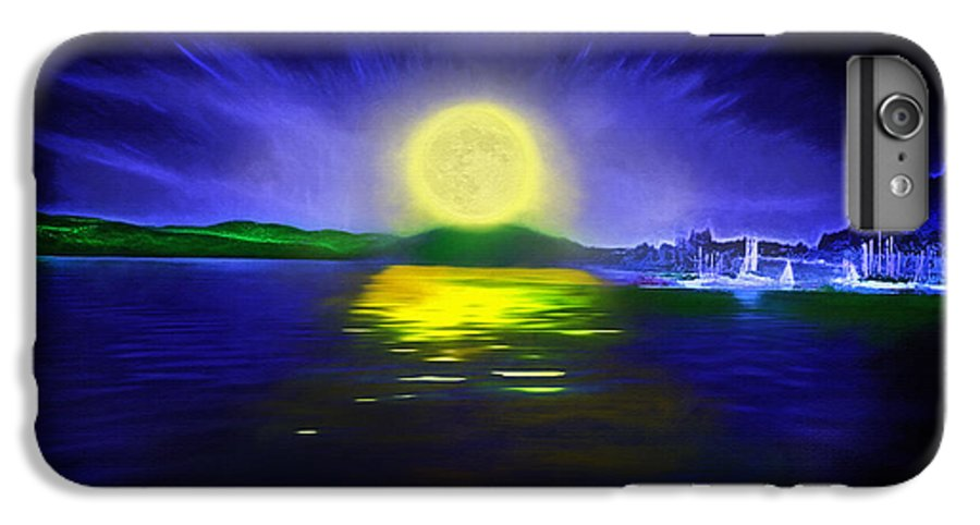 Couer D' Alene; Idaho; Lakes; Water; Night; Nighttime; Moonlight; Moonlit; Full Moon IPhone 6 Plus Case featuring the photograph Marina Moonrise by Steve Ohlsen