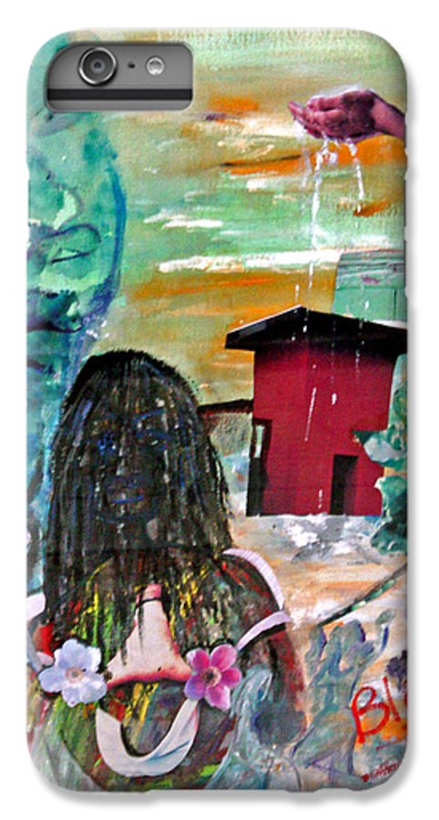 Water IPhone 6 Plus Case featuring the painting Masks Of Life by Peggy Blood