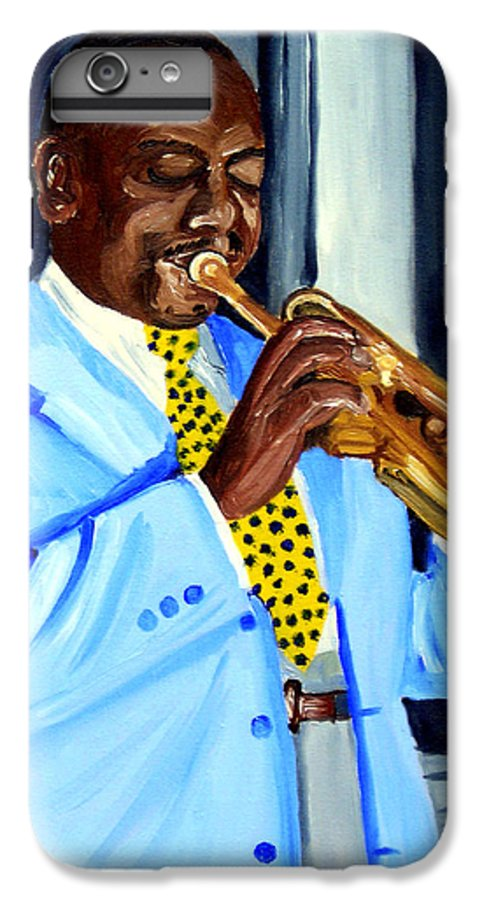 Street Musician IPhone 6 Plus Case featuring the painting Master Of Jazz by Michael Lee