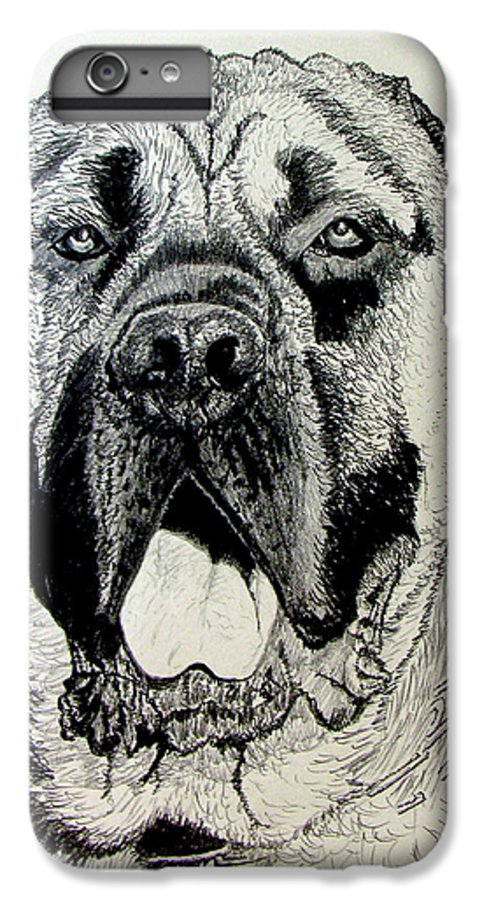 Mastiff IPhone 6 Plus Case featuring the drawing Mastiff by Stan Hamilton