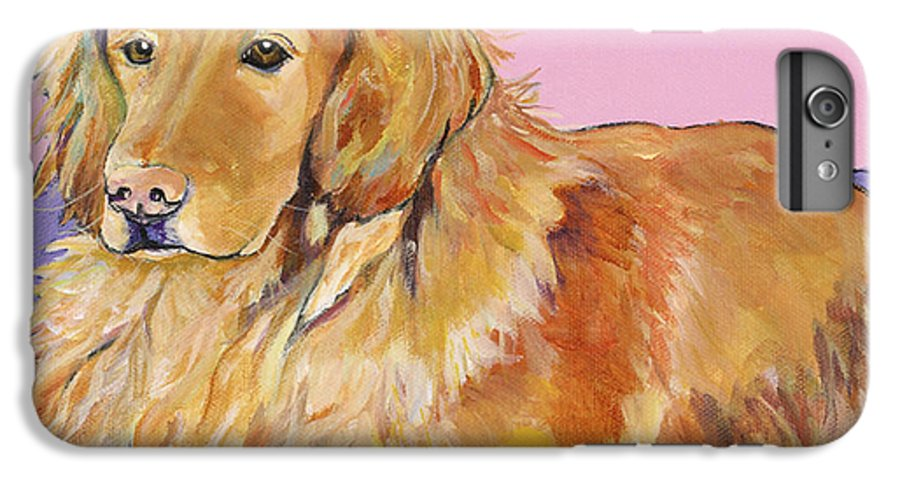 Golden Retriever IPhone 6 Plus Case featuring the painting Maya by Pat Saunders-White