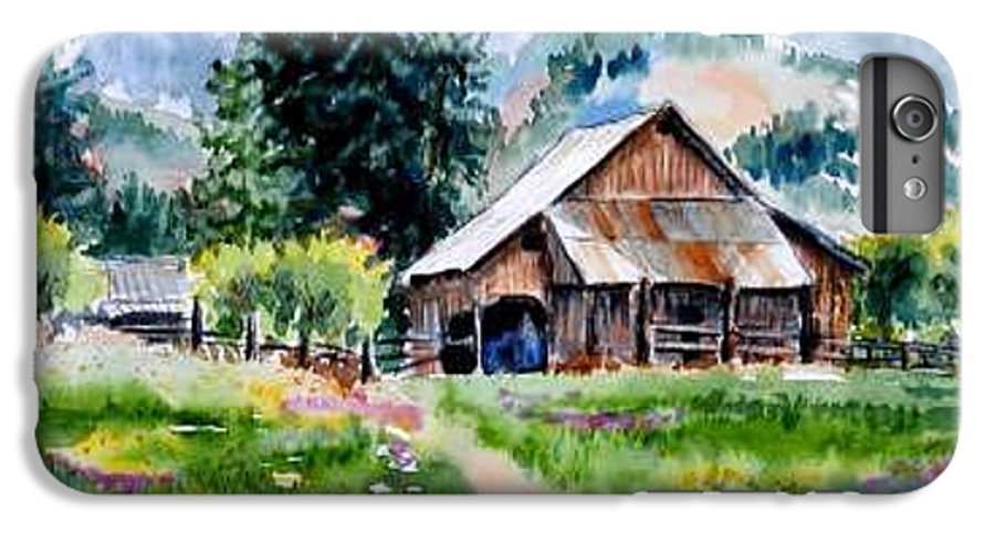 Barn IPhone 6 Plus Case featuring the painting Mcghee Farm by Lynee Sapere