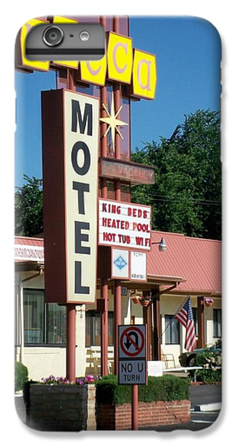 Vintage Motel Signs IPhone 6 Plus Case featuring the photograph Mecca Motel by Anita Burgermeister